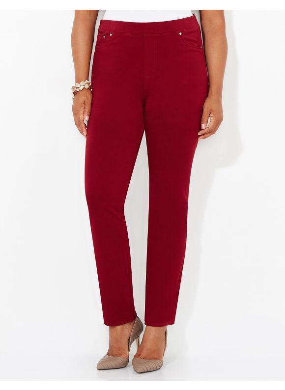 Catherines Plus Size The Knit Jean - Women's Size 1X 2X 3X 0X  Medium Stone