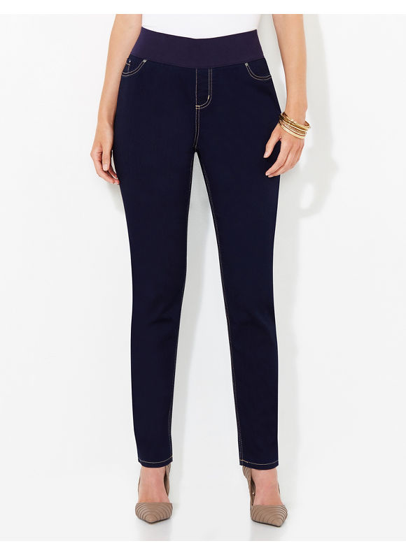 Catherines Plus Size Yoga Jean, Women's, Size: 2X, Dark Rinse Denim