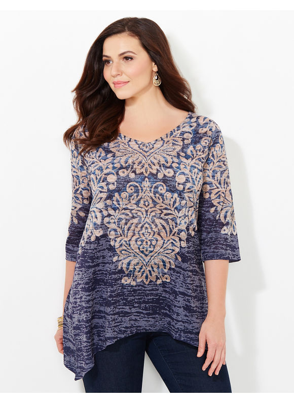 Catherines Plus Size Enchantment Scroll Top, Women's, Size: 2X, Mariner Navy
