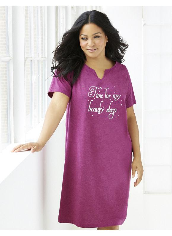Catherines Plus Size Beautysleep Sleepshirt - Dark Fuchsia