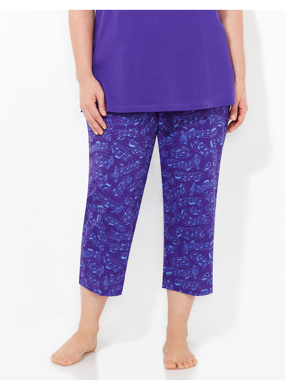 Catherines Intimates Plus Size Beautysleep Music Sleep Capri, Women's, Size: 0X, Regal Purple - Catherines ~ Classic Plus Size Clothes