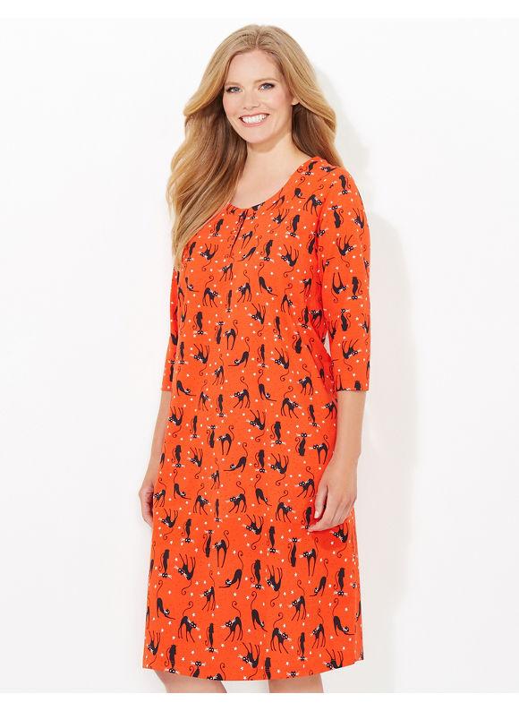 Catherines Plus Size Black Cat Sleepshirt - Dark Orange
