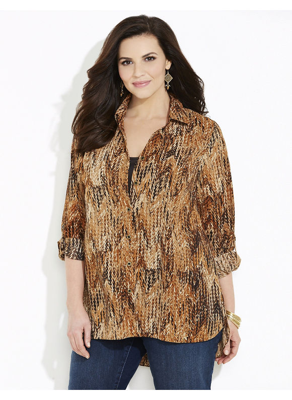Catherines Plus Size Tigerseye Blouse, Women's, Size: 2X, Brown