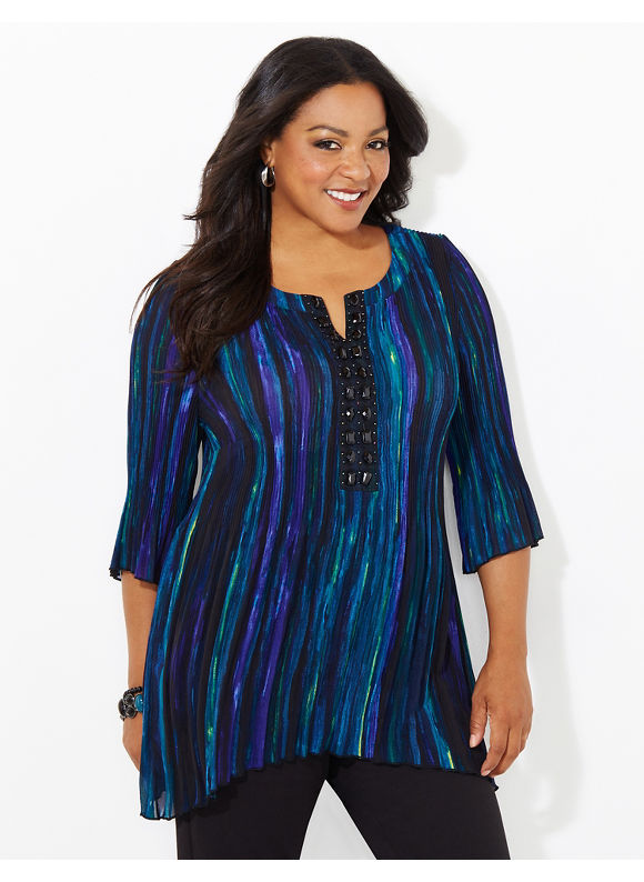 Catherines Plus Size Clearstream Pleated Blouse, Women's, Size: 3X, Black Multi