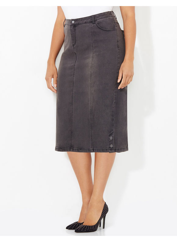 Black Label by Catherines Plus Size Denim Days Skirt, Women's, Size: 1X, Dark Cinder - Catherines ~ Classic Plus Size Clothes