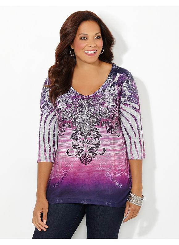 Catherines Plus Size Sunset Mediation Top, Dark Purple