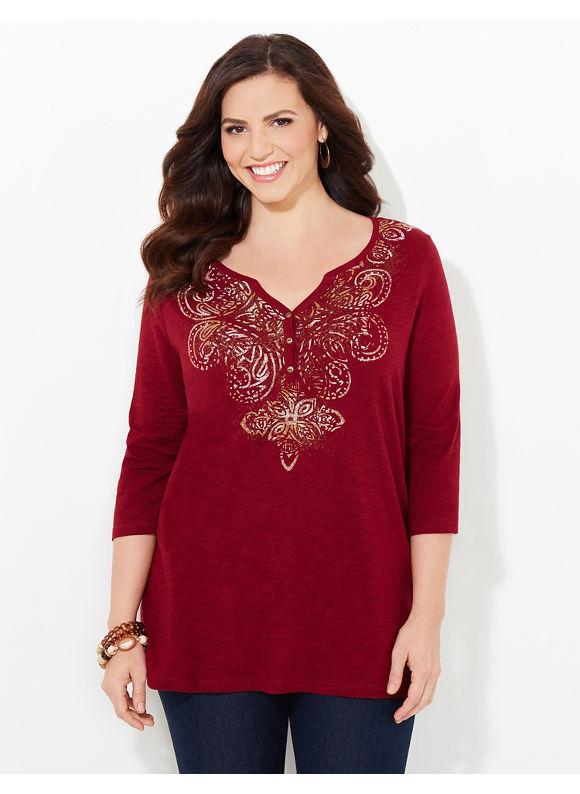 Catherines Plus Size Everlasting Top, Women's, Size: 0X, Deep Scarlet - Catherines ~ Classic Plus Size Clothes