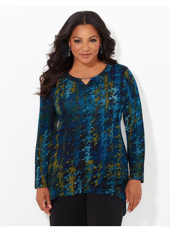 Catherines Plus Size Lunar Eclipse Hi-Low Top, Women's, Size: 0X, Horn Blue - Catherines ~ Classic Plus Size Clothes