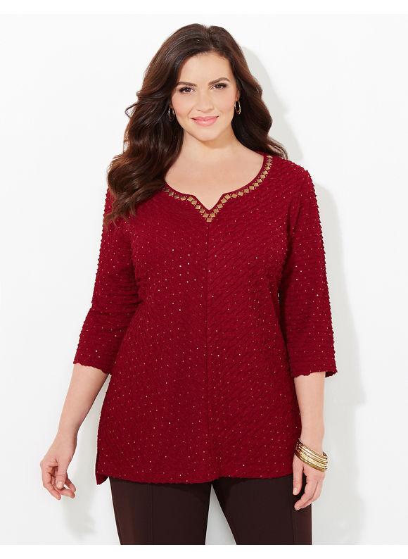 Catherines Plus Size Tidal Hi-Low Top, Women's, Size: 1X, Metal Wine - Catherines ~ Classic Plus Size Clothes