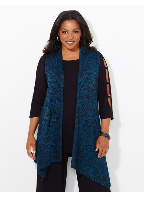 AnyWear by Catherines Plus Size AnyWear Callowhill Vest, Women's, Size: 1X, Tempest Teal - Catherines ~ Classic Plus Size Clothes