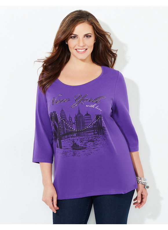 Catherines Plus Size New York My Love Tee, Women's, Size: 3X, Windsor Purple