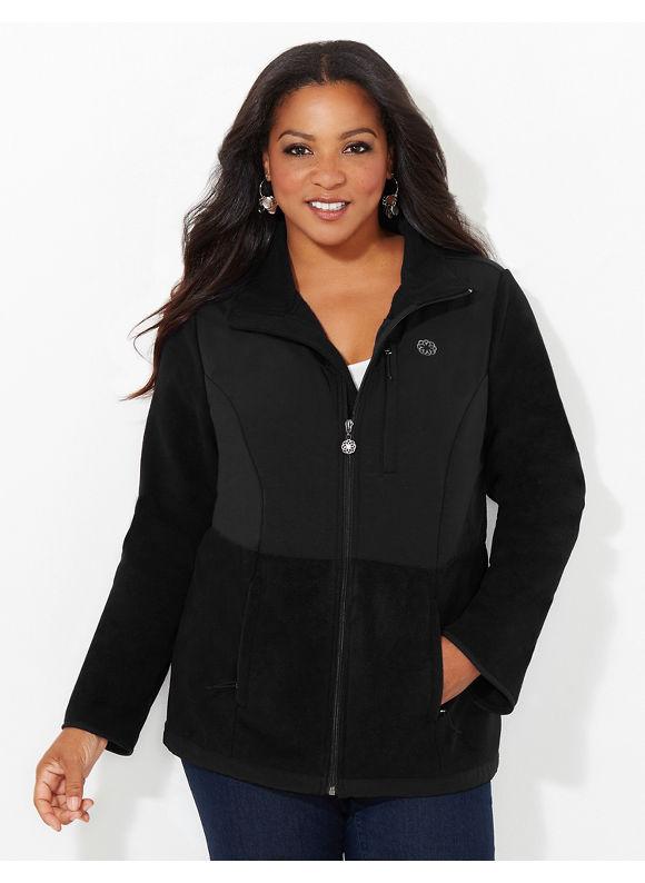 Catherines Plus Size Polar Fleece Coat, Women's, Size: 0X, Black - Catherines ~ Classic Plus Size Clothes