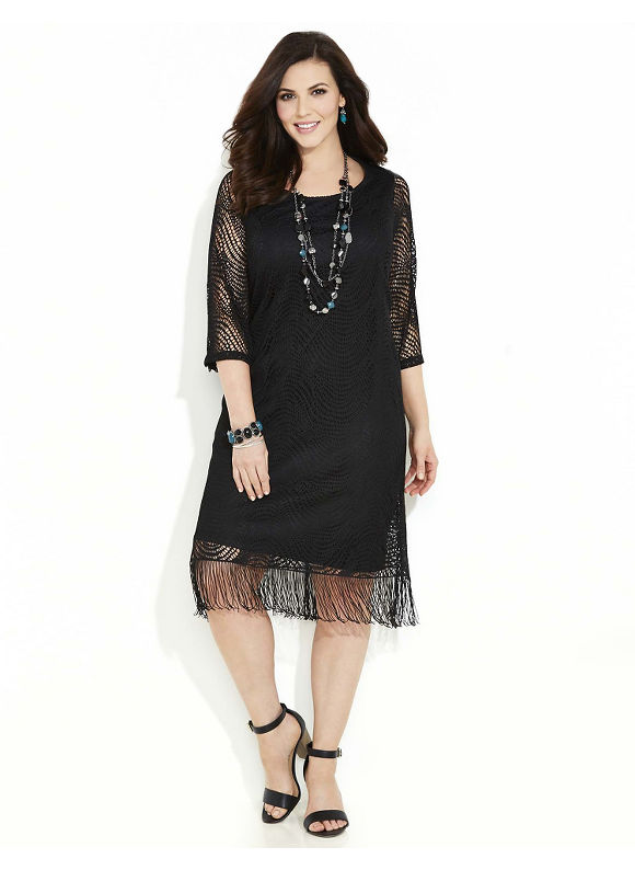Catherines Plus Size Midnight Magic Dress Womens Size 2X Black $99.00 AT vintagedancer.com