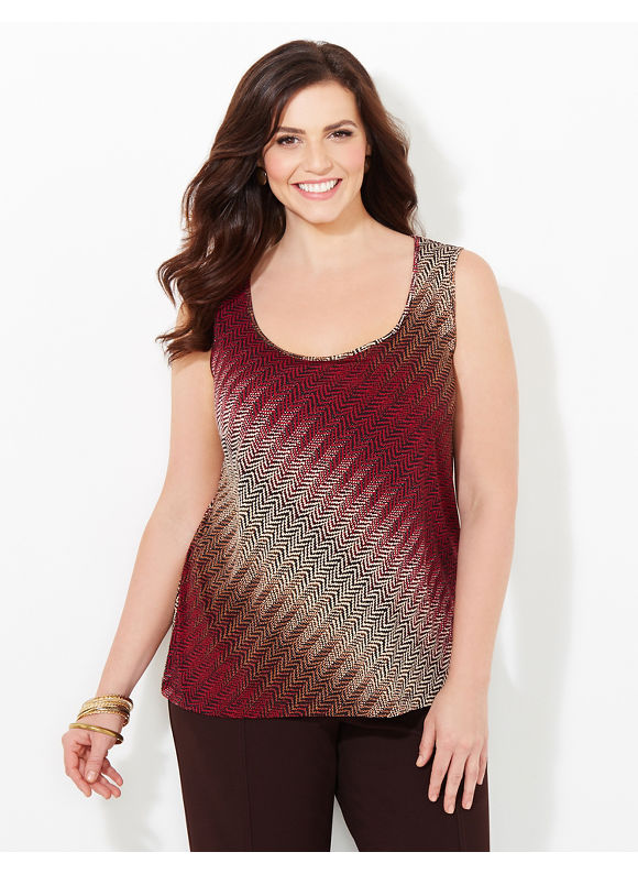 Catherines Plus Size Herringbone Hues Tank, Women's, Size: 3X, Brown