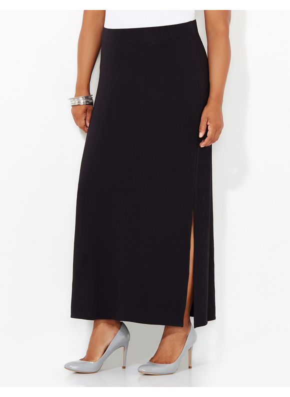 AnyWear by Catherines Plus Size AnyWear Interlude Maxi Skirt, Women's, Size: 1X, Black - Catherines ~ Classic Plus Size Clothes