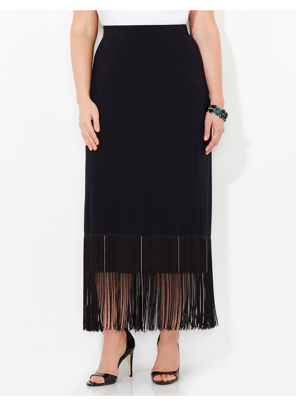 Black Label by Catherines Plus Size Fringe Fantasy Skirt, Women's, Size: 1X, Black - Catherines ~ Classic Plus Size Clothes