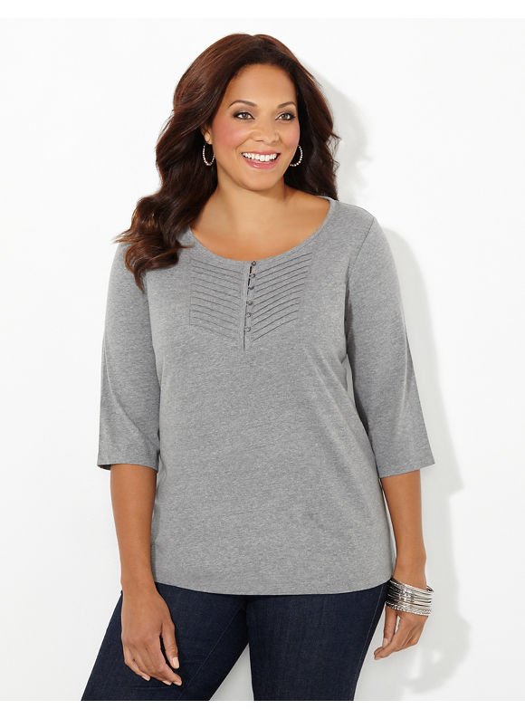 Catherines Plus Size Pintuck Pop Top, Women's, Size: 2X, Grey Heather