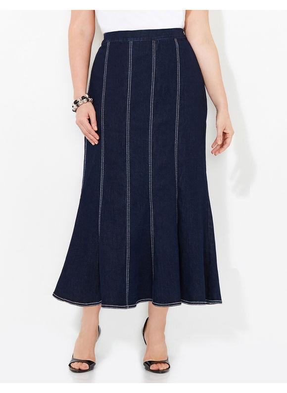 Black Label by Catherines Plus Size Streamline Denim (Blue) Skirt, Women's, Size: 0X