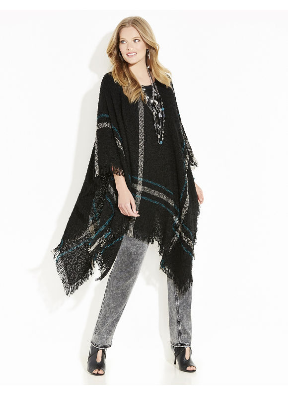 Catherines Plus Size Willow Ridge Plaid Poncho, Women's, Everglade - Catherines ~ Classic Plus Size Clothes