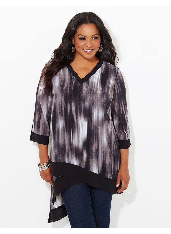 Black Label by Catherines Plus Size Infinity Tunic, Black/White