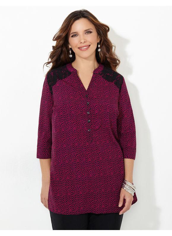 Catherines Plus Size Lace Burst Blouse, Women's, Size: 2X, Pale Berry - Catherines ~ Classic Plus Size Clothes