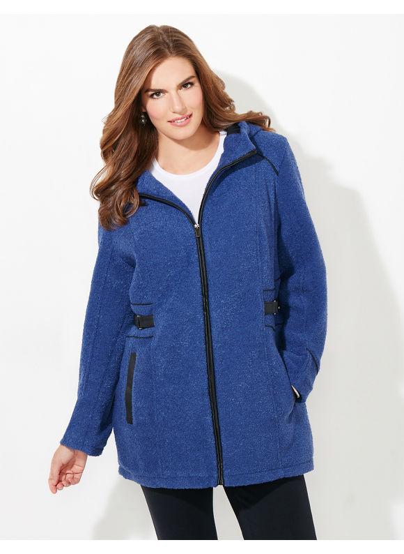 Catherines Plus Size Dorset Boucle Coat, Women's, Size: 1X,2X,3X,0X, Mariner Navy