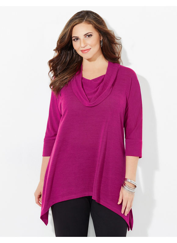 Catherines Plus Size The Ultimate Cowlneck, Women's, Size: 2X, Raspberry