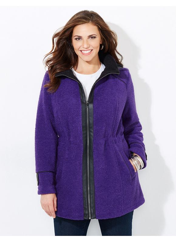 Catherines Plus Size Ultra Cozy Coat, Purple Velvet