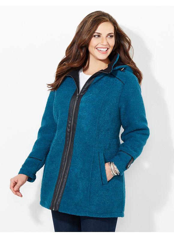 Catherines Plus Size Ultra Cozy Coat, - Jet Teal
