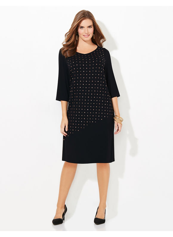 Catherines Plus Size Mix & Mingle Shift Dress, Women's, Size: 4X, Black - Catherines ~ Classic Plus Size Clothes