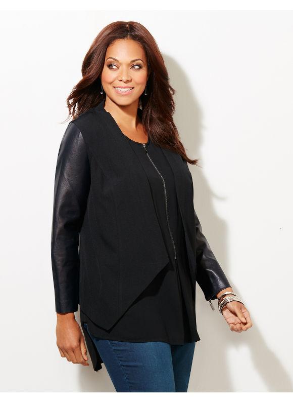 Black Label by Catherines Plus Size Black Label Artful Combination Jacket