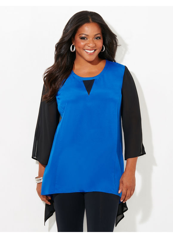 Black Label by Catherines Plus Size Black Label Contrast Curve Top, Surf The Web