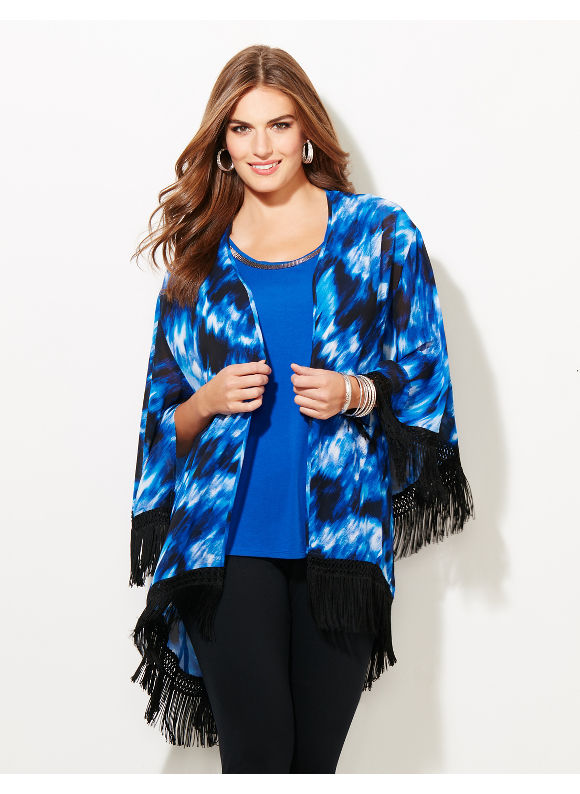 Black Label by Catherines Plus Size Black Label Shadow Wave Fringe Kimono, Blue