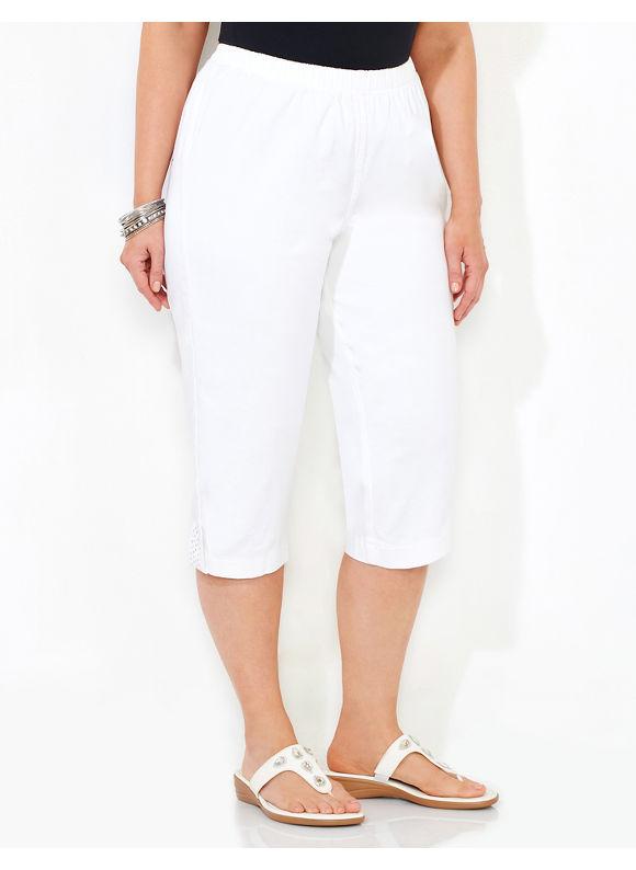 Catherines Plus Size Everyday Capri, White