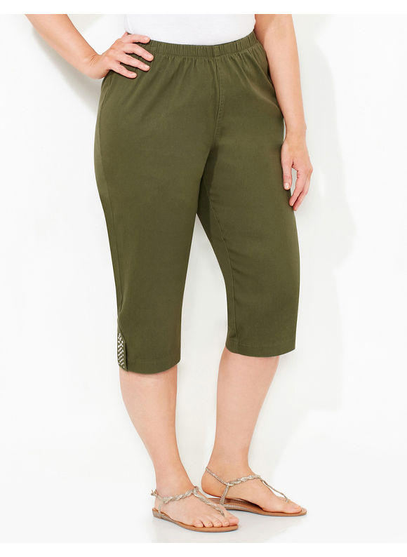 Catherines Plus Size Everyday Capri,  Ivy Green