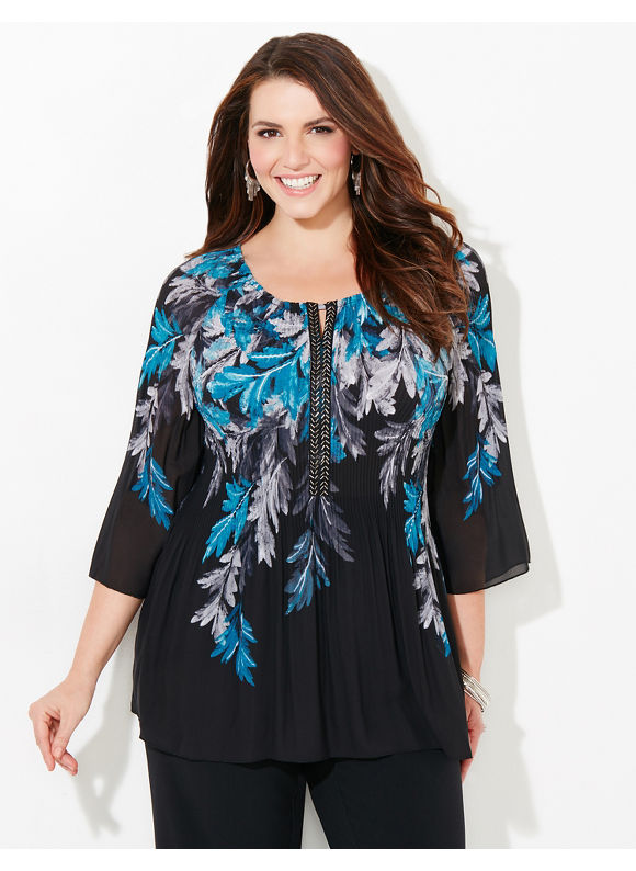 Catherines Plus Size Leaves Of A Feather Pleated Blouse, Black