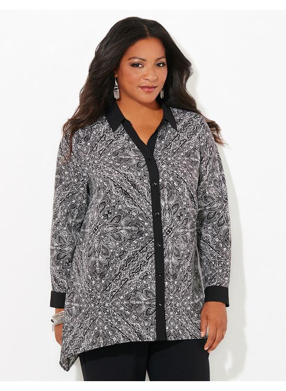 Catherines Plus Size Detail Design Blouse, Black
