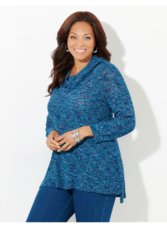 Catherines Plus Size Cool-Tone Sweater, Blue