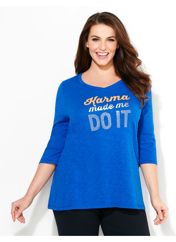 Catherines Plus Size Karma Tee, Blue