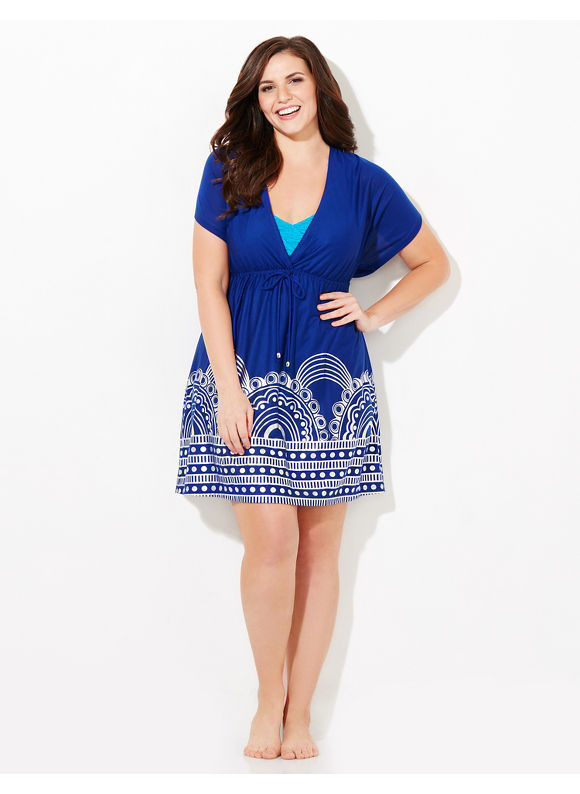 Catherines Plus Size Catching Rays Cover-Up, Blue