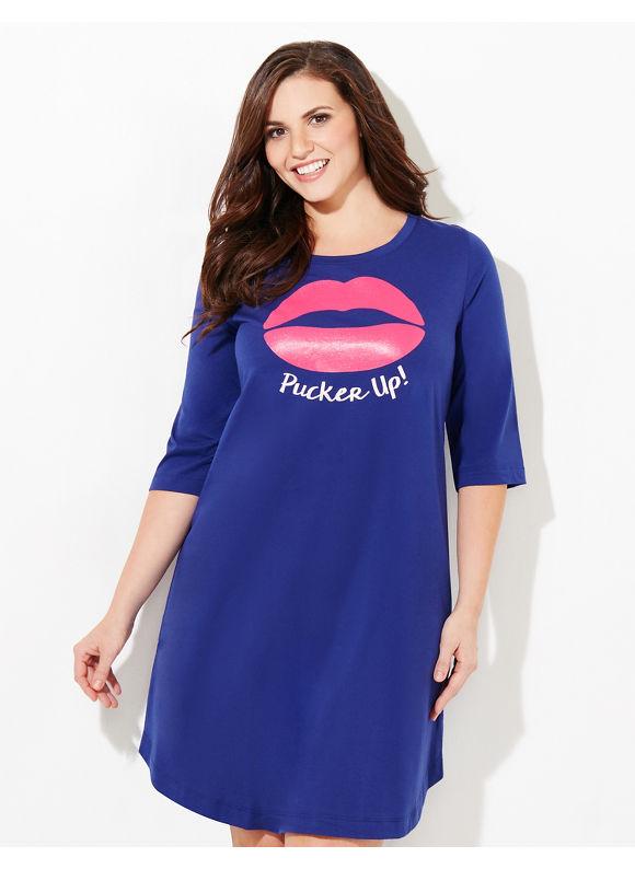 Catherines Intimates Plus Size Pucker Up Sleepshirt, Modern Blue