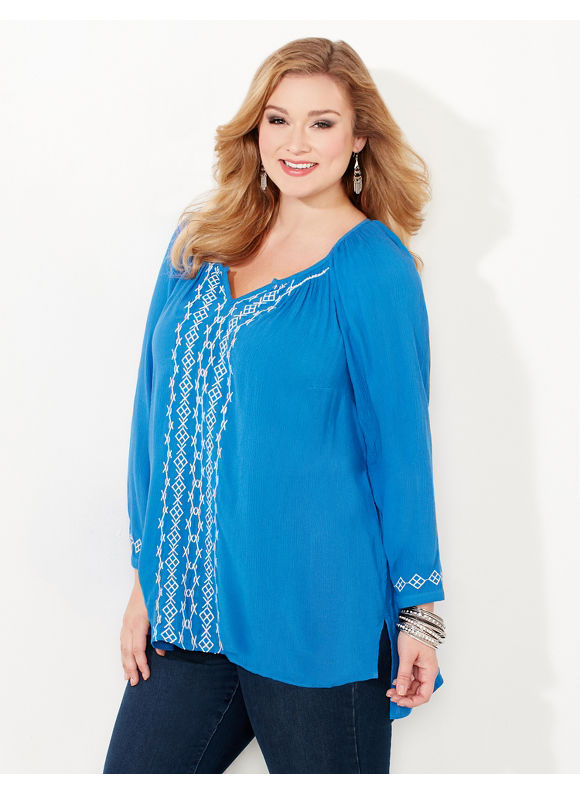 Catherines Plus Size Hatchwork Peasant Shirt, Empress Blue