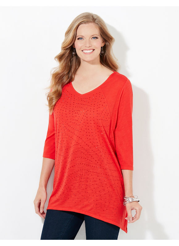 Catherines Plus Size Color Map Top, Maraschino Red