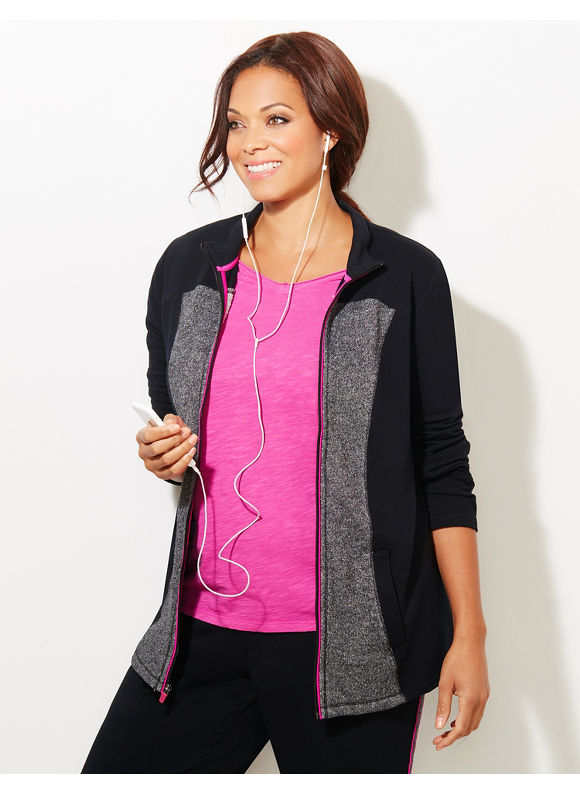Catherines Plus Size Pop Active Jacket, Black