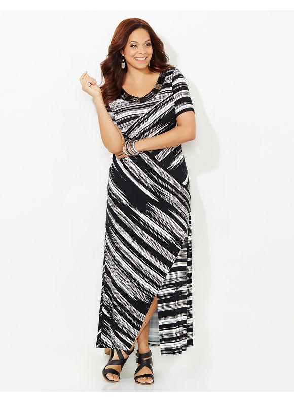 Catherines Plus Size Stunning Stripe Maxi Dress, Black