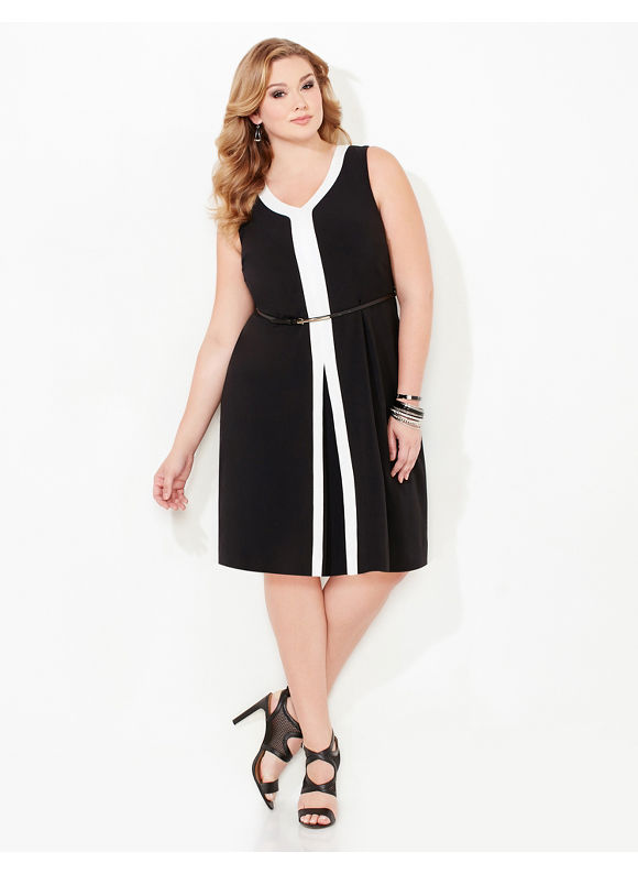 Catherines Plus Size Modern Muse Dress, Black