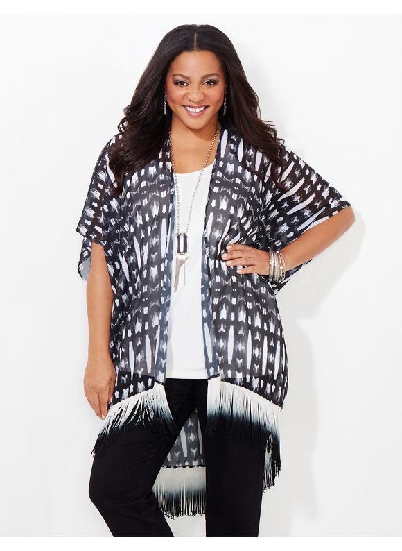 Catherines Plus Size Wandering Soul Kimono, Women's, Black
