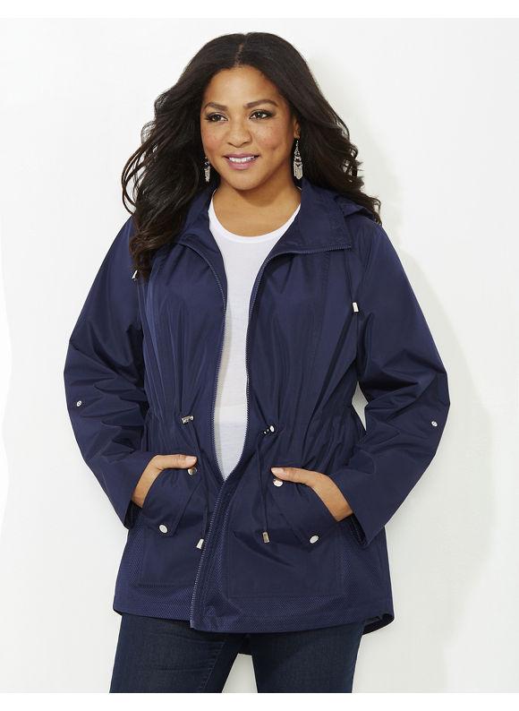 Catherines Plus Size Mesh Detail Jacket, Mariner Navy