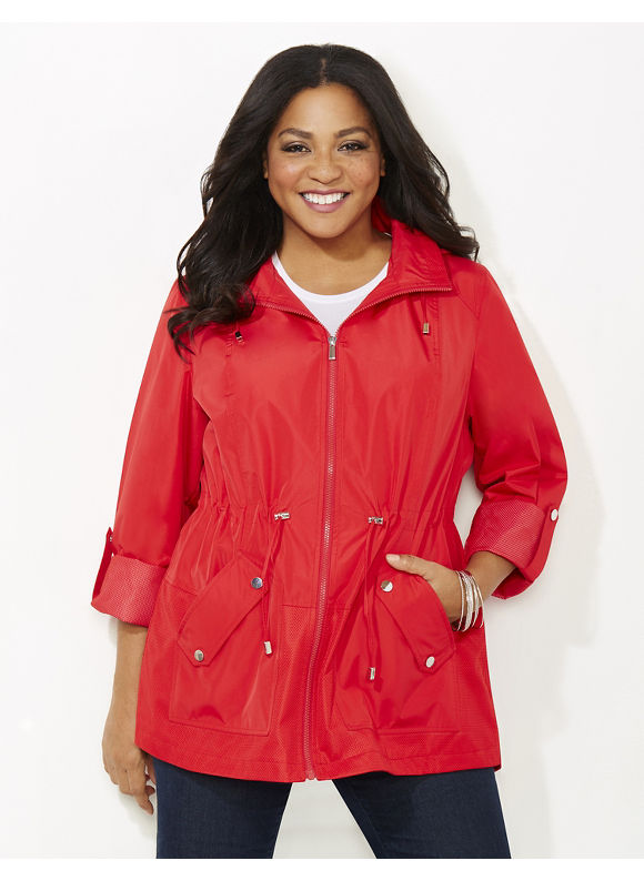 Catherines Plus Size Mesh Detail Jacket, Red