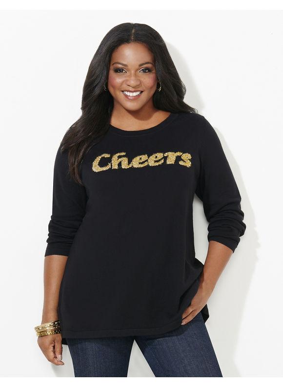 Catherines Plus Size Cheers Sweater, Black